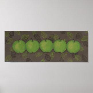 Poster original de la pintura de las manzanas verd
