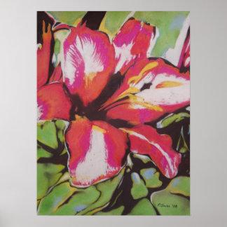 Poster original del arte abstracto de la flor roja