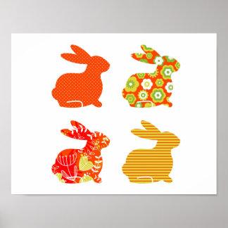 Poster original del arte con los conejitos/naranja
