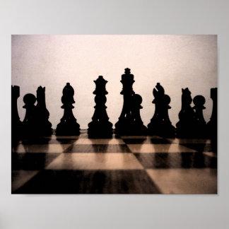 Poster oscuro clásico del ajedrez