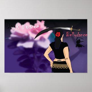 Poster oscuro de la danza de Belly de la fusión