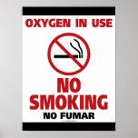 Poster/oxígeno de no fumadores funcionando