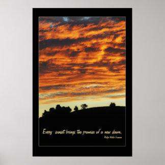 Poster pacífico de la puesta del sol