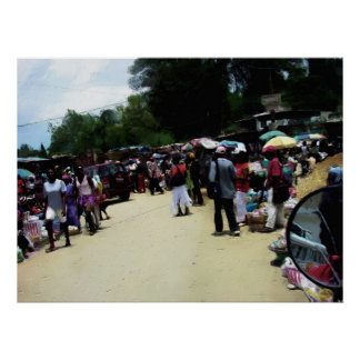 Poster Painting - Port Au Prince Haiti Marketplace