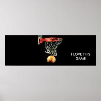 Poster panorámico elegante único del baloncesto póster