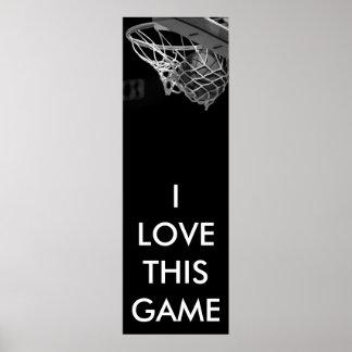 Poster panorámico negro y blanco del baloncesto