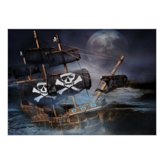 Poster Paper PIRATE GHOST SHIP STRANDED ON ROCKS Print