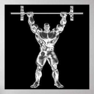 Poster para hombre de Powerlifter del cromo