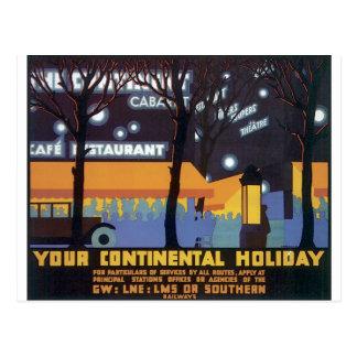 Poster pasado de moda del viaje postal