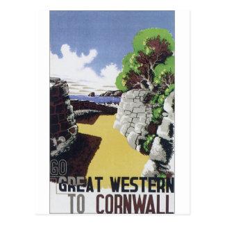 Poster pasado de moda Great Western del viaje Tarjeta Postal