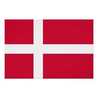 Poster patriótico con la bandera de Dinamarca Perfect Poster
