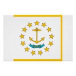 Poster patriótico con la bandera de Rhode Island