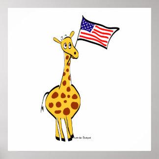 Poster patriótico de la jirafa