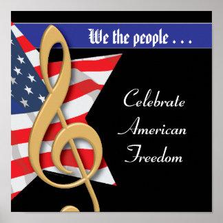 Poster patriótico de la música
