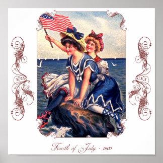 Poster patriótico de los nadadores del vintage