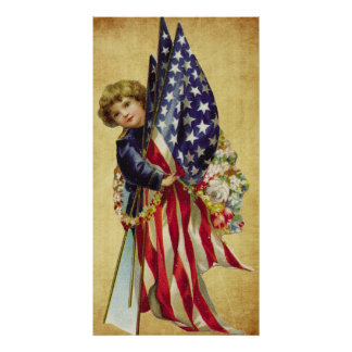 poster patriótico del vintage
