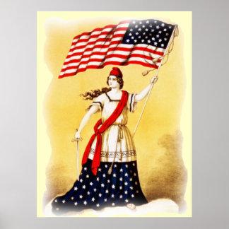 Poster patriótico del vintage siempre vigilante