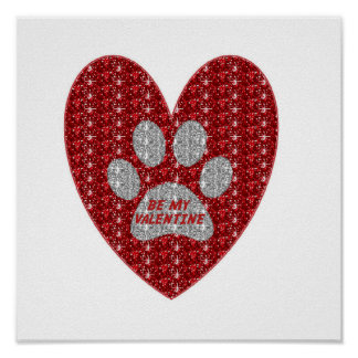 Poster Paw Heart Red Silver Be My Valentine