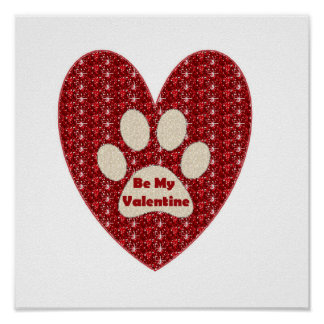 Poster Paw Heart Red White Be My Valentine