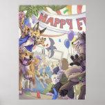 Poster peludo feliz de la estafa