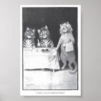 ¡Poster - pequeño - camarero! ¡Esta carne del gato Póster