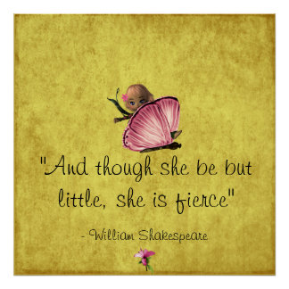 Poster pequeño y feroz de la mariposa de Shakespea