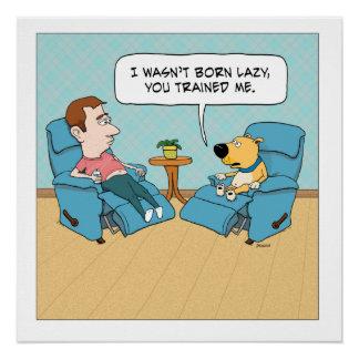 Poster perezoso divertido del cuadrado del perro