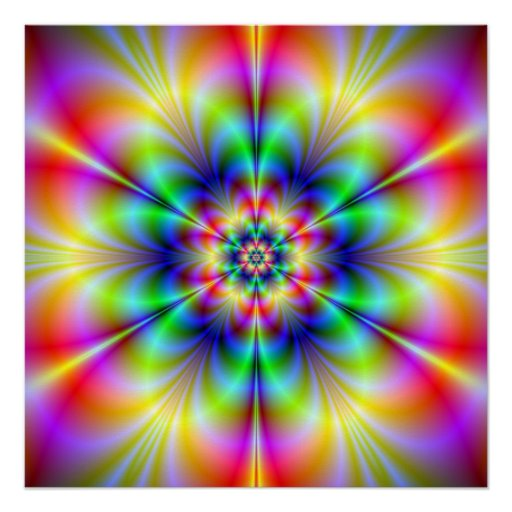 Poster perfecto de Zazzle del Psychedelia floral Perfect Poster