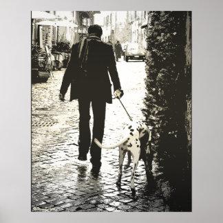 Poster - perro que camina en Trastevere