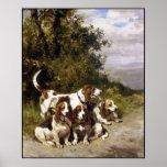 Poster: Perros de caza - arte del perro del vintag