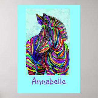 poster personalizable de la cebra del bebé del art