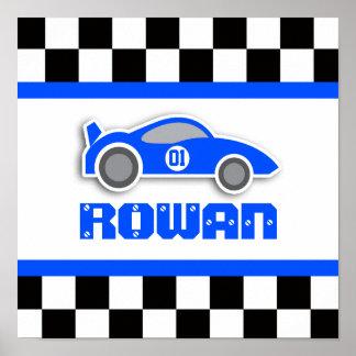 Poster personalizado azul del coche de competición