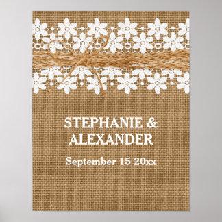 Poster personalizado boda rústico del cordón y de