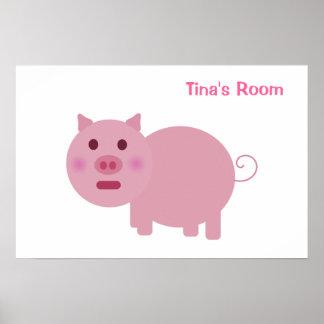 Poster personalizado cerdo tímido de la puerta