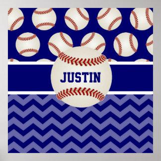 Poster personalizado Chevron azul del béisbol