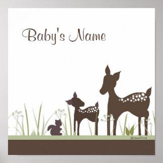 Poster personalizado ciervos del bebé
