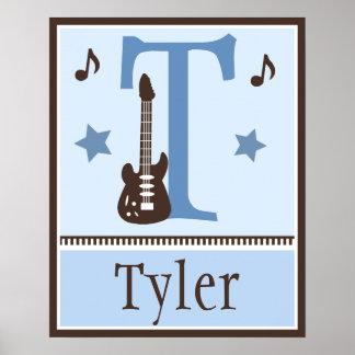 Poster personalizado de la música de la guitarra d