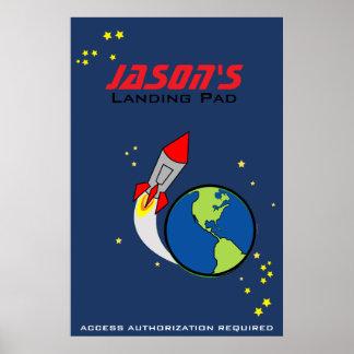 POSTER PERSONALIZADO del cohete de espacio para lo