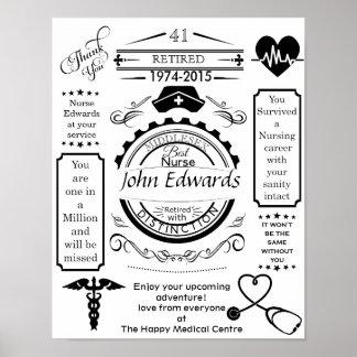 Poster personalizado del retiro de la enfermera