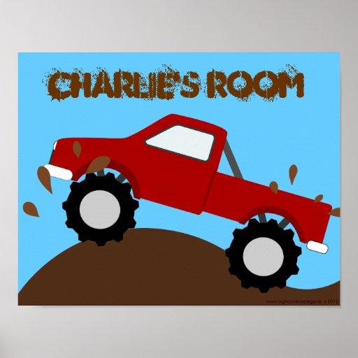 Poster personalizado monster truck fangoso