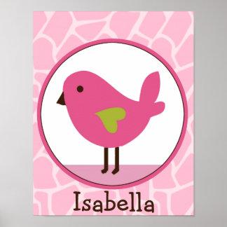 Poster personalizado pájaro del arte de Jill /Pink