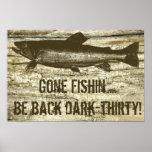 Poster pesquero ido chistoso del arte del tema de