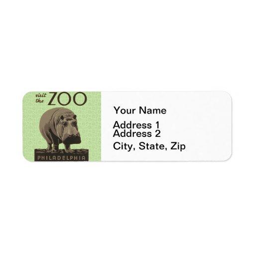 Poster Philadelphia del parque zoológico de WPA de Etiqueta De Remitente