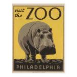 Poster Philadelphia del parque zoológico de WPA Postal