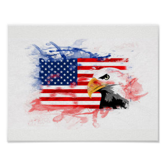 Poster, picture. American Eagle, Flagge. The USA Poster
