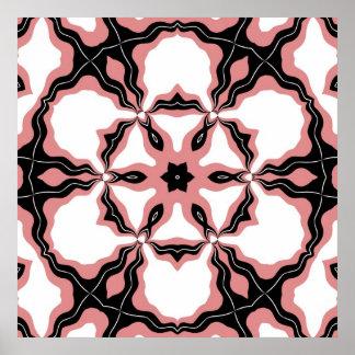 Poster, Pink White Black Flower Kaleidoscope Art