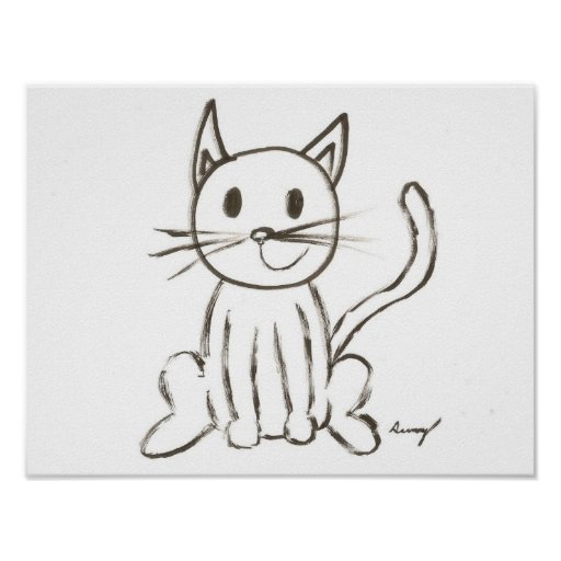 Poster pintado del gatito
