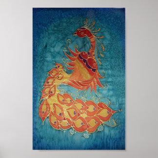 Poster: Pintura de seda del pavo real