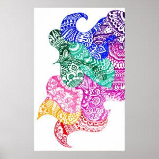 Poster poco firme del Doodle del arco iris