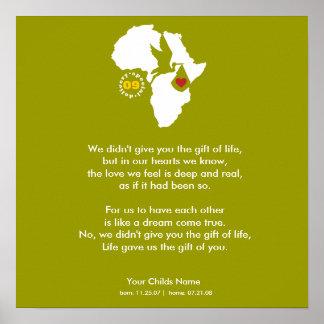 Poster - poema de la adopción - regalo de usted